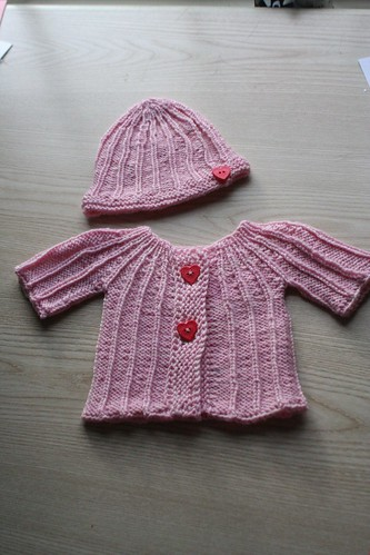 knitted :: yoked cardigan and baby beanie