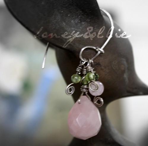 rose quartz and peridot drops