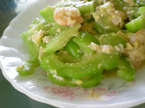 Fried bitter gourd with prawn & egg 2