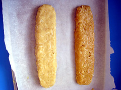 Coconut Macadamia Nut Biscotti regular & gluten free dough before baking