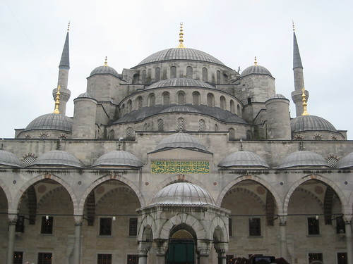 """The famous """"Blue Mosque"""", also called Sultanahmet after the Ottoman ruler who commissioned it, as seen from the courtyard."""