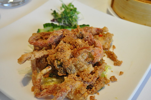 Pan fried soft shell crab with red chilli and curry leaf