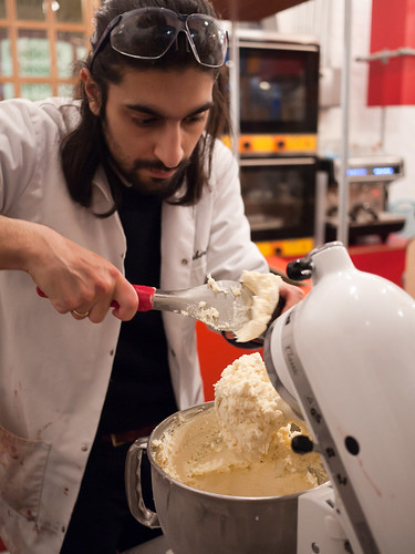 Scooping up the finished ice cream
