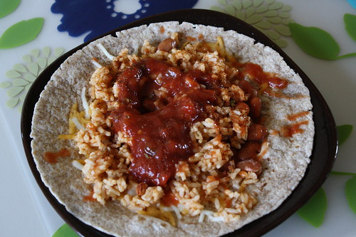 wheat tortilla, rice, salsa, pinto beans