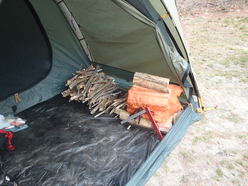 Some of the wood gathered for Saturday night's fire with Sven folding saw
