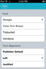 Kobo.app for iPhone: settings