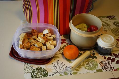 tofu, clementine, string cheese, salad, salad dressing