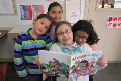 SMUM kids reading Sue Fliess Shoes for Me by Katy DIckinson