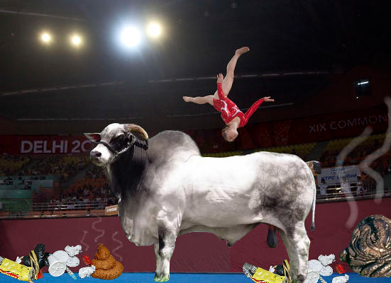Hindu cow leaping