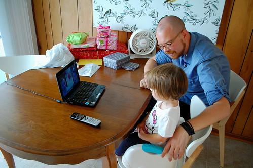 Skyping with Grandma & Grandpa Gibbs.