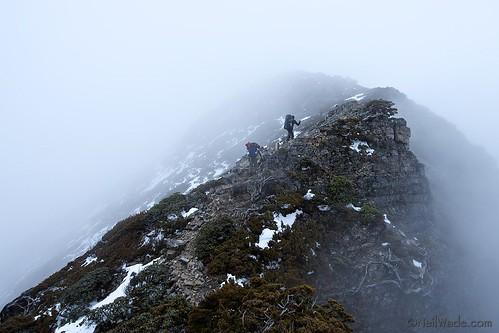 Hiking a ridge line in the fog