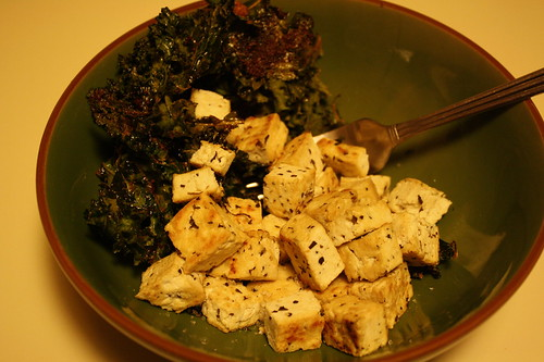 kale chips and herbed tofu