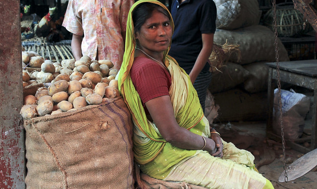 lady with potatoes