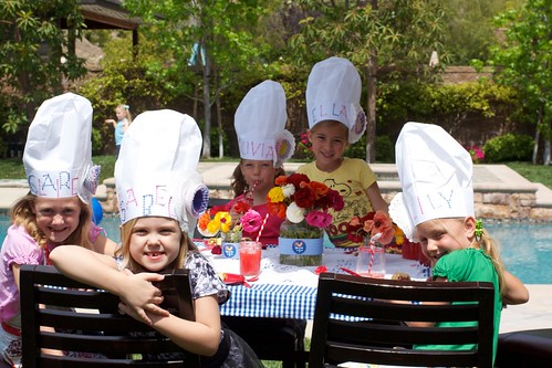 Little chefs around the pool