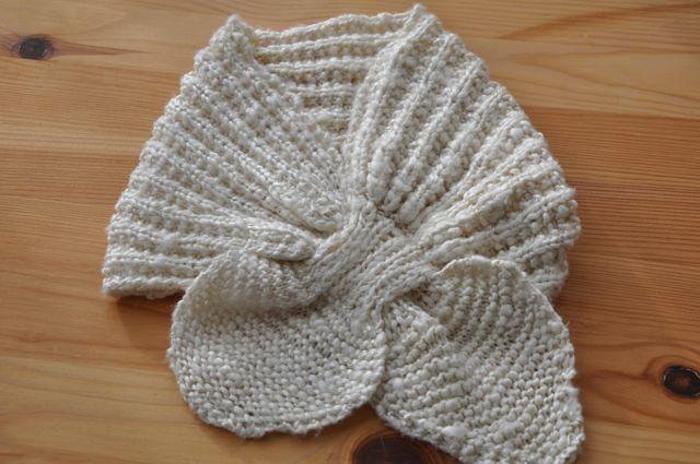 Neck scarf made from unspun silk hankies.