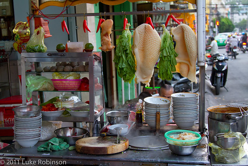 Soup cart with all ingredients, Chinatown