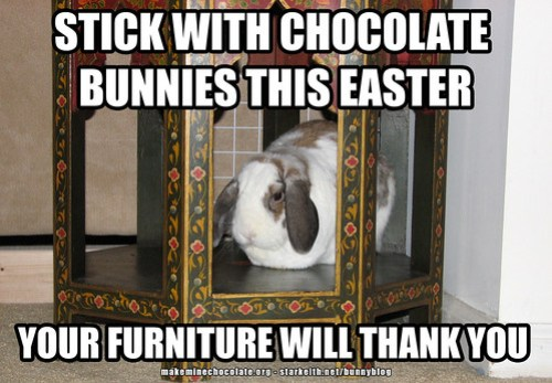 stick with chocolate bunnies this Easter - your furniture will thank you