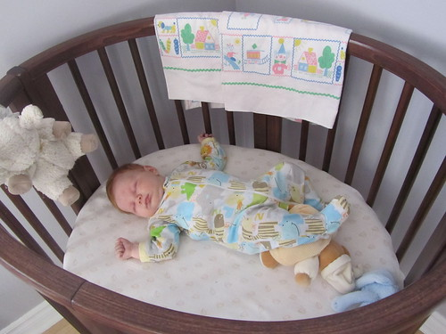 1st time asleep in crib! For real...