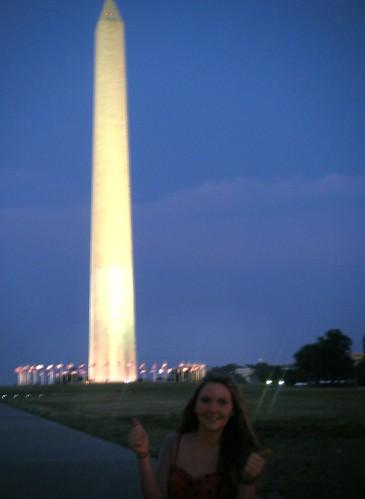 Sarah with Washington Monument