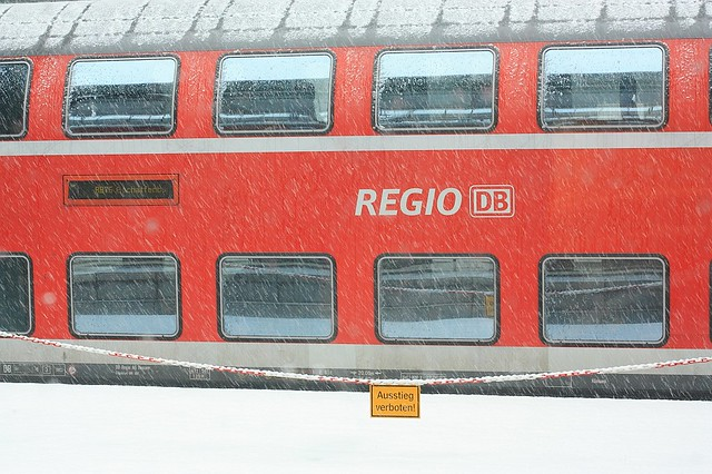 DeutscheBahn RB train snow Darmstadt Germany