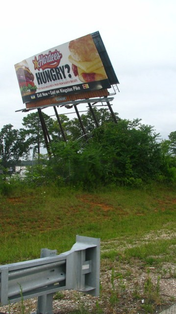 Billboard blown over by high winds