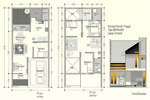 denah rumah minimalis 3 kamar tidur 2 lantai - rumah tinymalis