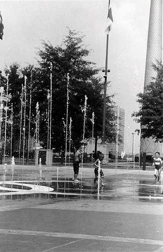 Children playing in the Fountains at Centennial Park
