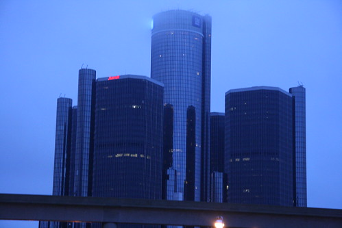 The Renaissance Center, disappearing in fog