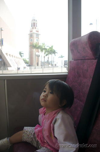 Lia in bus going to Mong Kok, HK 2010