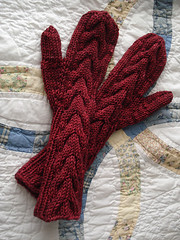 Red Cabled Mittens