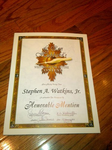 The Greatest Rejection Ever: The Writers of the Future Honorable Mention Certificate