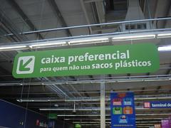 Placa de Preferência para quem não usa sacolas plásticas