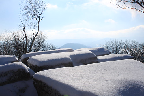 Kelly's Knob - Snow Covered Rocks and View (Far)