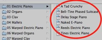Logic Express 9 - Electric Pianos