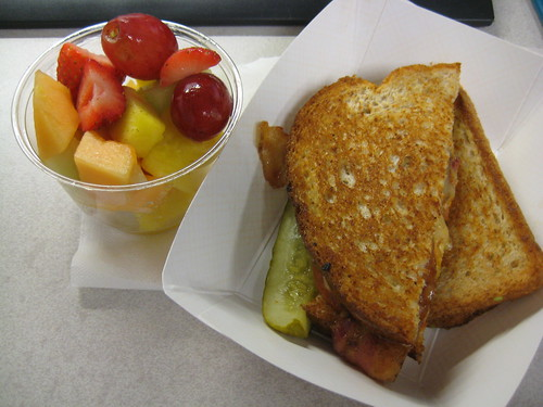 lunch on 1-7-11. Fruit and gourmet grilled cheese