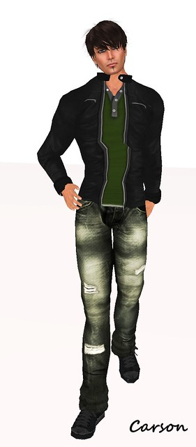 ADNY #37 KamreK Creations Black Leather Jacket, Green V Polo, and Acid Mold Jeans