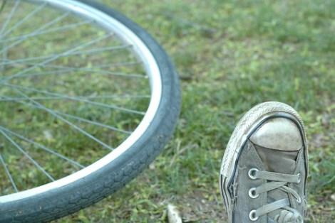 Min sykkel og jeg på bakken
