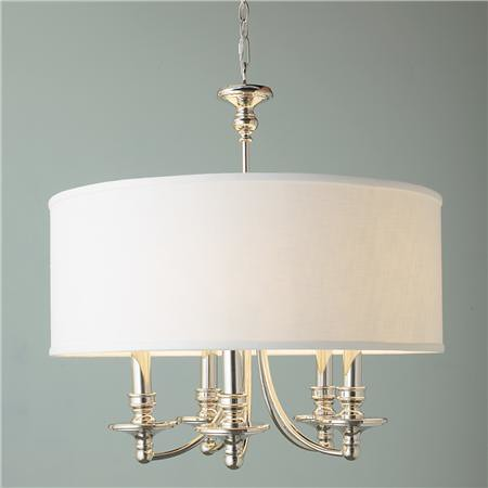 lighting, shades of light, linen shade chandelier 5 light, $500
