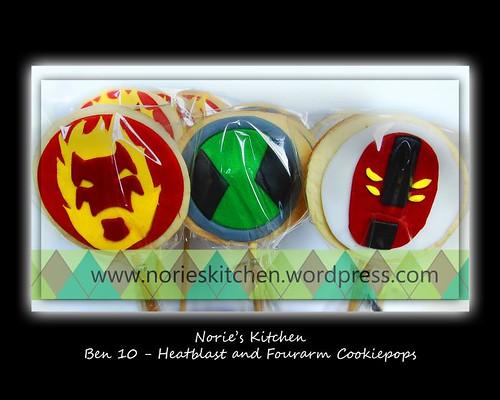 Norie's Kitchen Ben 10 Cake - Heatblast and Fourarms - Cookiepops