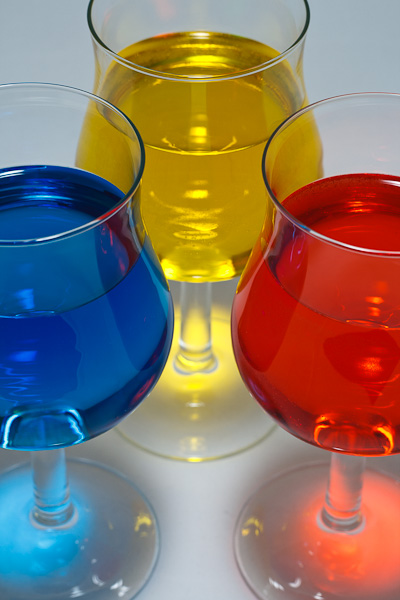 Colorful water glasses.