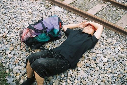 阿里山森林火車鐵軌太累了睡著了1