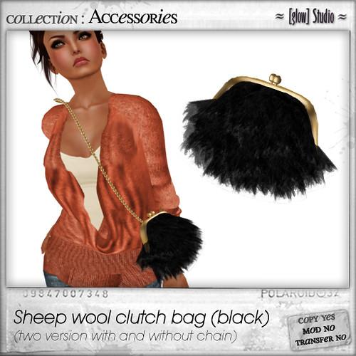 [ glow ] studio - sheep wool clutch (black)