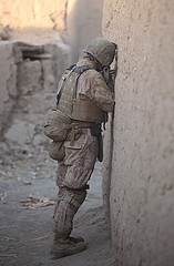 Corpsman on patrol with Marines