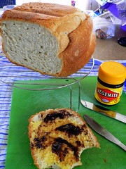 I just love home-made bread - with Vegemite