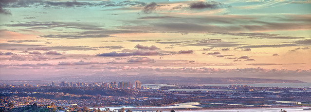 Panoramic view of Downtown San Diego from Mt. Soledad in La Jolla