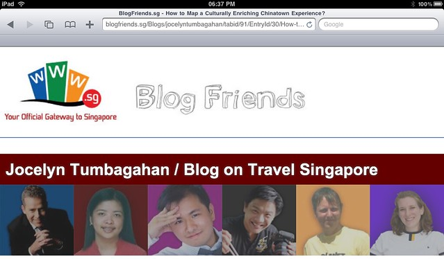 Guest bloggers for Singapore's blogger community webpage