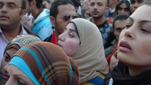 Women protesting in Tahrir Square