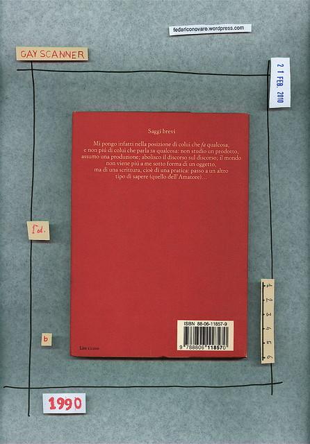 Roland Barthes, Incidenti, Einaudi 1990. Quarta di copertina