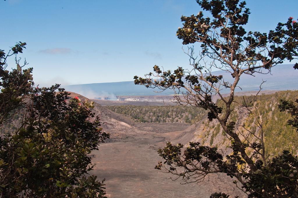 Looking from Kilauea Iki caldera into Kilauea caldera, Halema'uma'u crater in the background