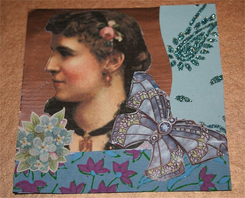 "Lady and Butterfly 4"" x 4"" Collage Card"
